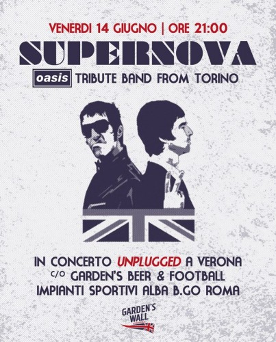 "QUESTA SERA SUPERNOVA UNPLUGGED AL ""GARDEN'S BEER & FOOTBALL""!!!"
